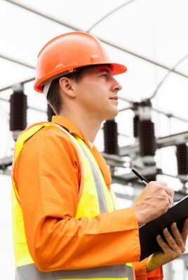 male electric engineer in power plant